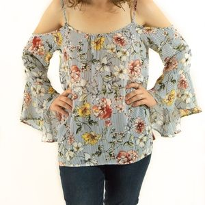 Sun & Moon Tops - New Cold Shoulder Flowered Blouse